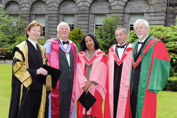 Lubna Olayan With Dr Mary Robinson, Micheal Johnston, Jonah Barrington and Provost, Dr John Hegarty