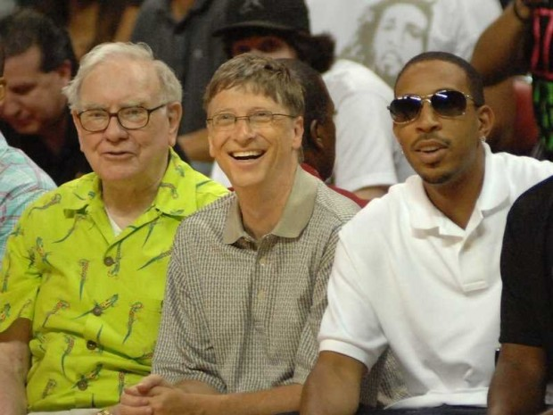Warren Buffett with Bill Gates and Ludacris