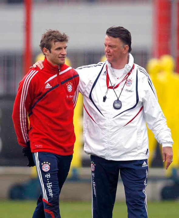 Thomas Muller with the former Bayern coach Louis van Gaal