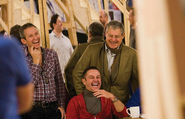 Sir Cameron Mackintosh with George Stiles and Stephen Mear