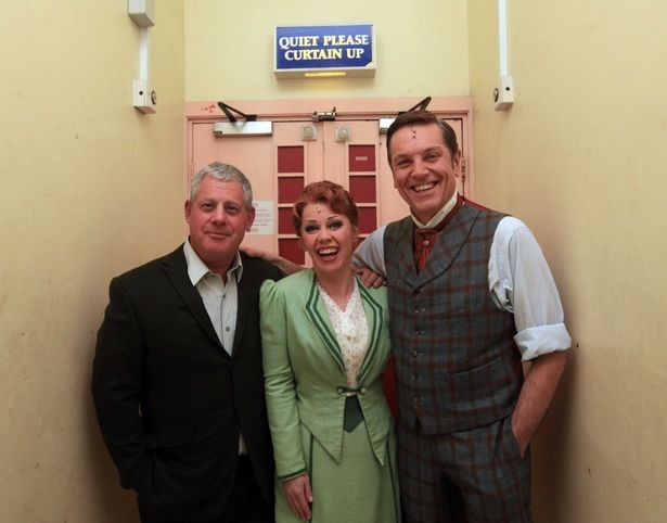 Brian Conley and Linzi Hately with Cameron Mackintosh