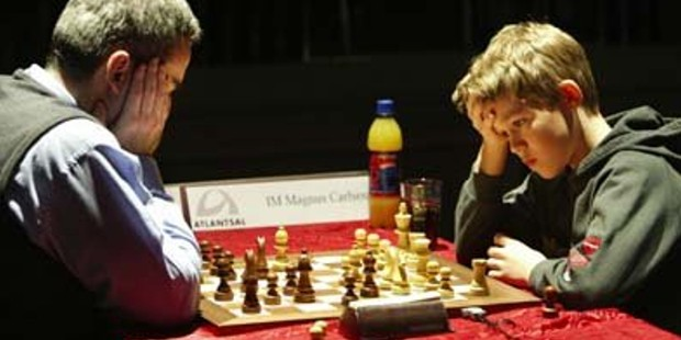 Carlsen during game against Garry Kasprov