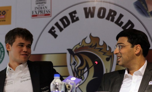 Magnus Carlsen with Viswanathan Anand during a press conference