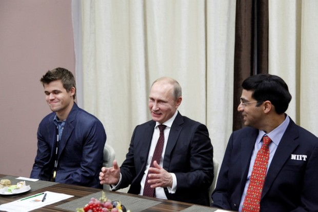 Carlsen with Russian Preisdent Vladimir Putin and Vishy