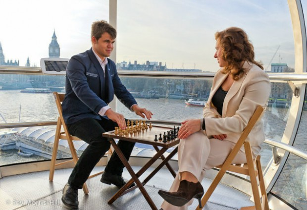 Carlsen with Judit Polgar