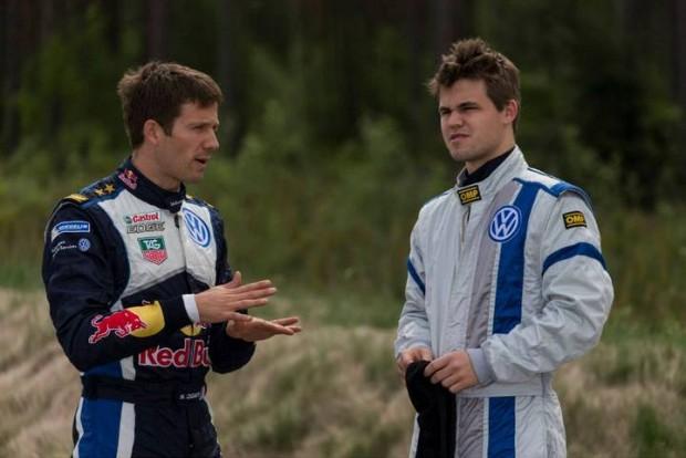 Magnus Carlsen with Sebastian Ogier