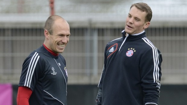 Arjen Robben and Manuel Neuer