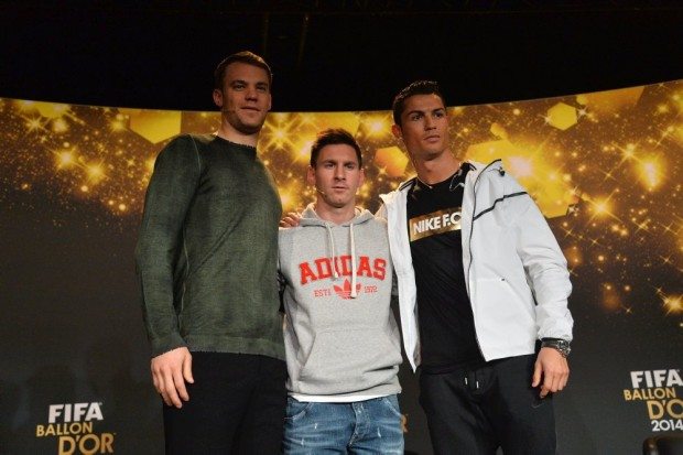 Manuel Neuer with Lionel Messi and Cristiano Ronaldo