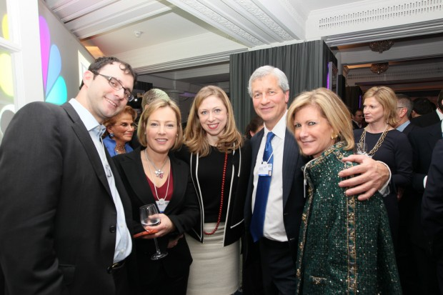Marc Mezvinsky, Gillian Tett, FT, Chelsea Clinton, Jamie Dimon and Mary Callahan Erdoes from JPMorgan