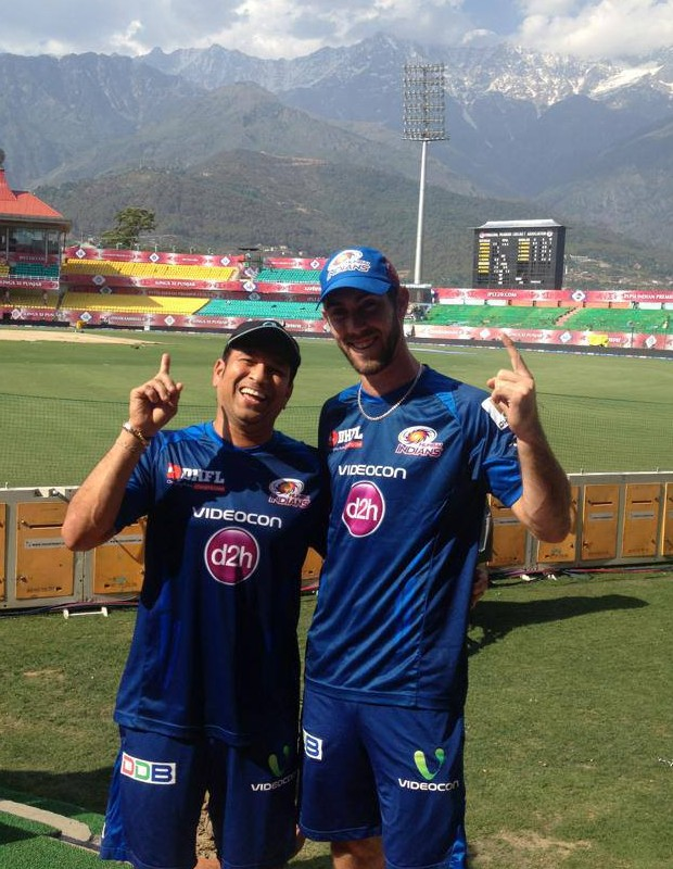 Sachin and Maxwell at Dharamshala Ground