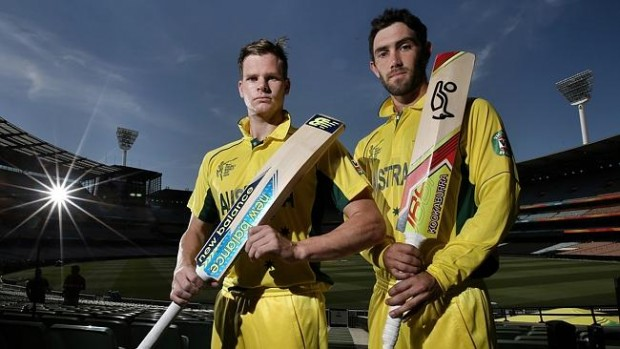 Steve Smith with his fellow cricketer glenn maxwell at Melbourne Cricket Ground