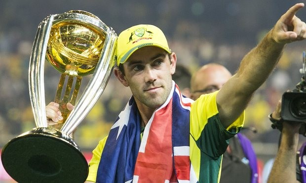 Glenn Maxwell with World Cup Trophy