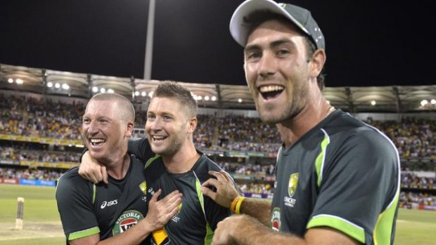 Glenn Maxwell with Clarke and Haddin