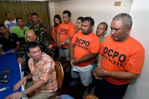 Duterte Staring at Some Prisoners