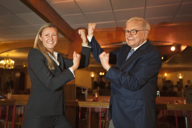 Warren Buffett Poses with an MBA Student