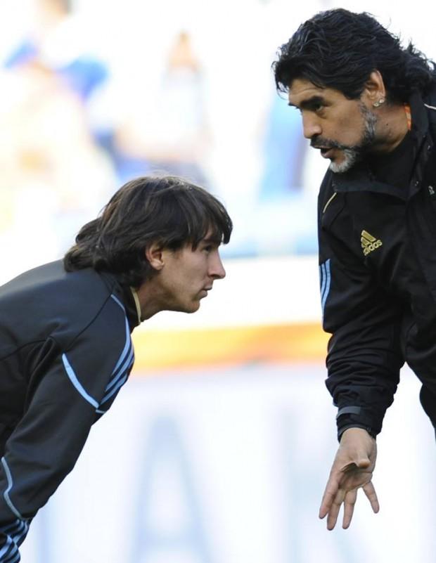 Messi with Legend Maradona