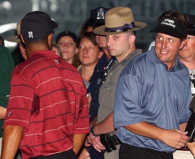 Mickelson and Tiger Woods at 2002 US Open