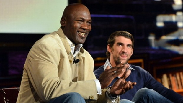 Swimmer Michael Phelps meets his idol Michael Jordan