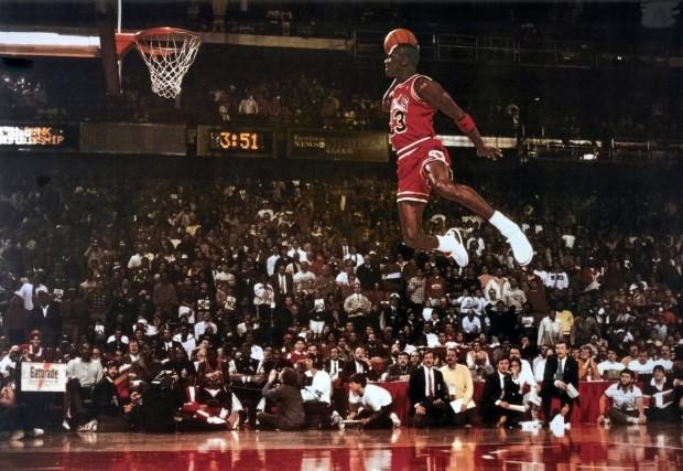 Michael Jordan Famous Foul Line Dunk