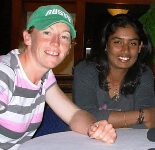 Mithali Raj with former New Zealand captain Haidee Tiffen