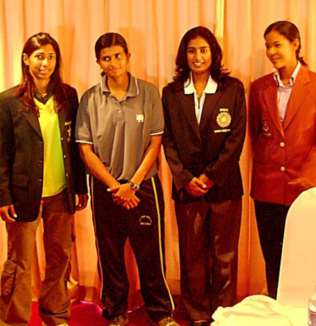 Mithali Raj with fellow mates Shashikala, Salma and Mumtaz