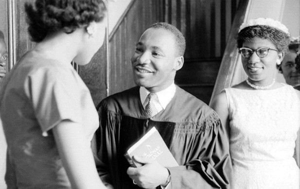 Martin Luther King Jr and David J Shestokas 1956 at Dexter Avenue Baptist Church