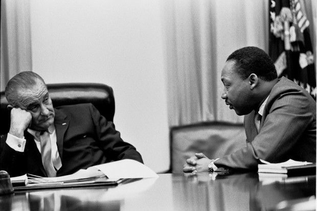 President Lyndon Johnson with King in 1966
