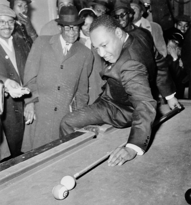MLK Jr. playing a pool game