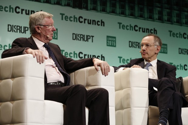 Michael Moritz and Alex Ferguson at TechCrunch Disrupt London