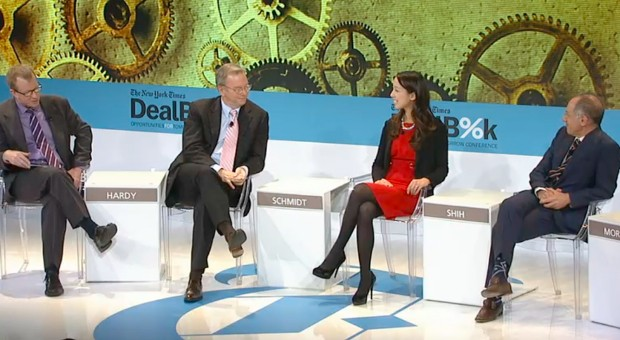 Michael Moritz With Clara Shih and Eric Schmidt