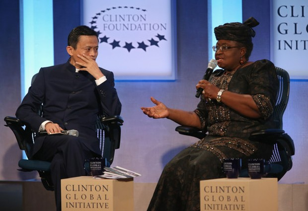 igerian Finance Minister Ngozi Okonjo-Iweala With Jack Ma, Executive Chairman of the Alibaba Group