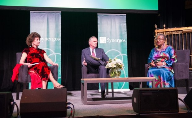 Ngozi Okonjo-Iweala, Minister of Finance of Nigeria, talks about leadership and collaboration for development with Peggy Dulany, Founder and Chair of Synergos, and Paul Polman, CEO of Unilever