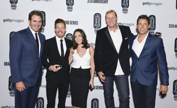 James Cooper, Shaun White, Liza Kirsh, Paul Crandell and Nick Woodman attend the 25th Anniversary Adweek Brand Genius Gala