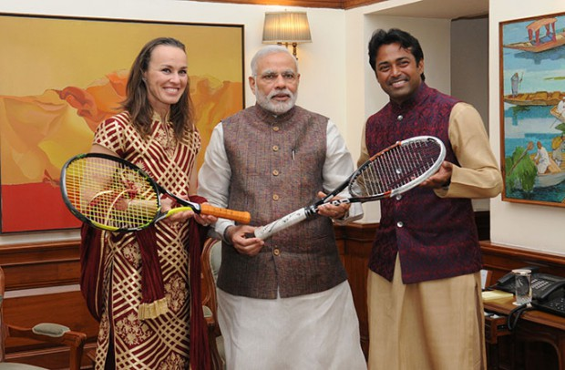 Leander Paes-Martina Hingis present Australian Open winning racquets to Indian PM Narendra Modi