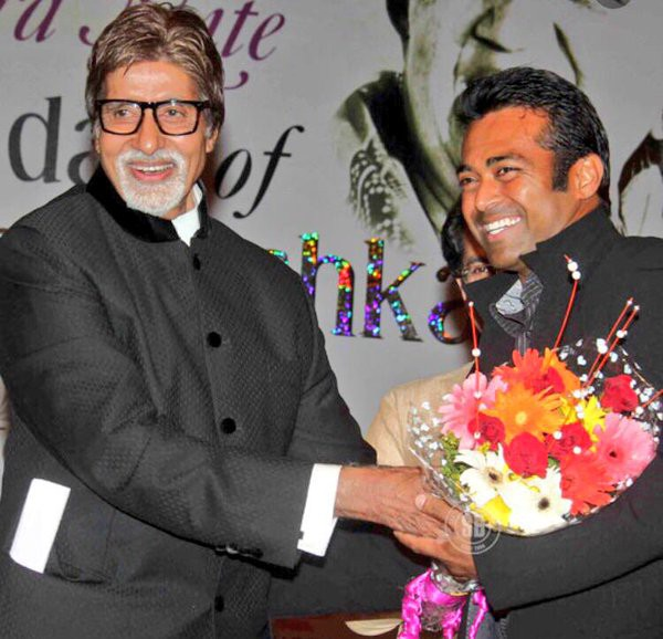 Leander Paes with Indian lengendary actor Amitabh Bachchan