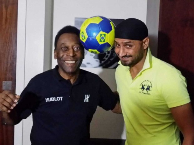 Indian Cricketer Harbhajan Singh with Pele