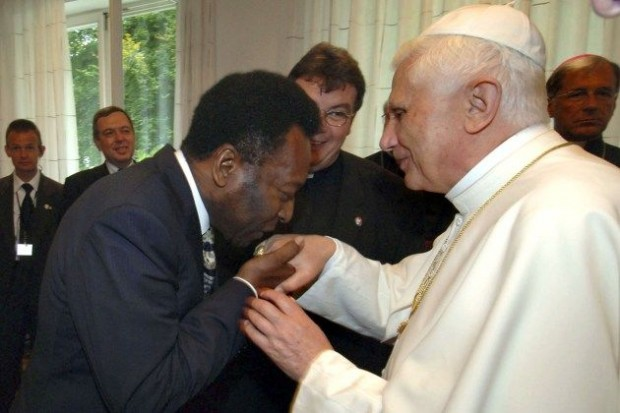 Brazilian soccer star Pele with Pope John Paul II during their meeting at the Vatican