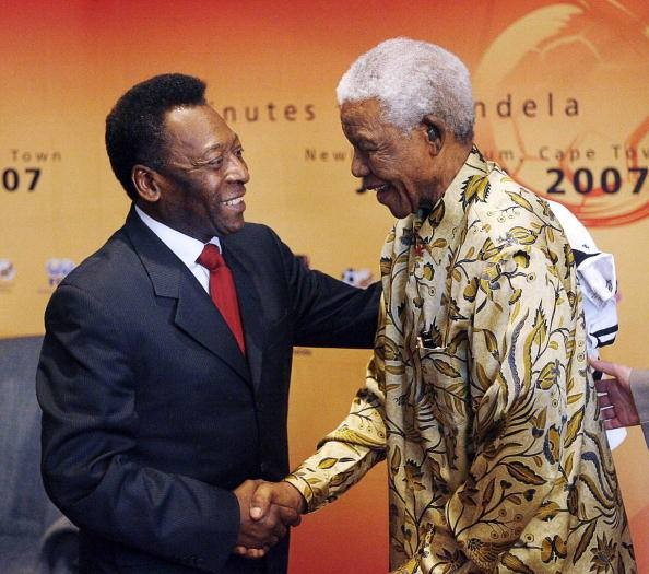 Pele with Nelson Mandela