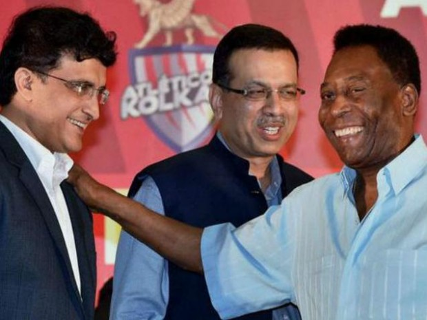 Indian Cricketer Sourav Ganguly with Pele