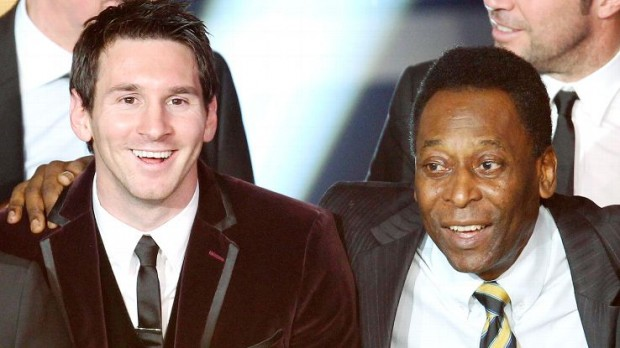 Lionel Messi with Soccer Legend Pele