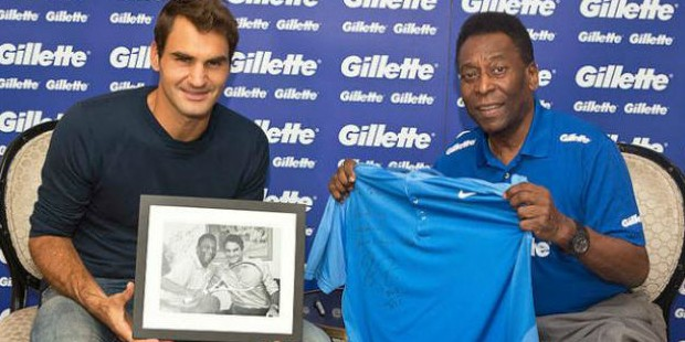 Pele with Roger Federer