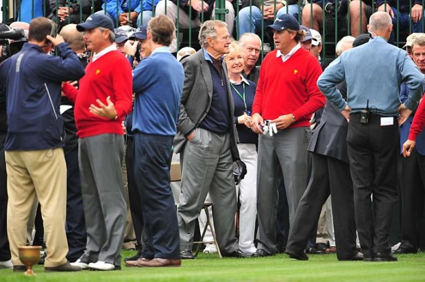 Phil Mickelson with US former President George H.W. Bush