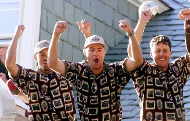 U.S. Ryder Cup players Tiger Woods, Davis Love III and Phil Mickelson