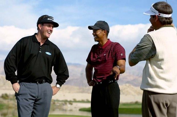 Phil Mickelson with Tiger Woods and Fred Couples