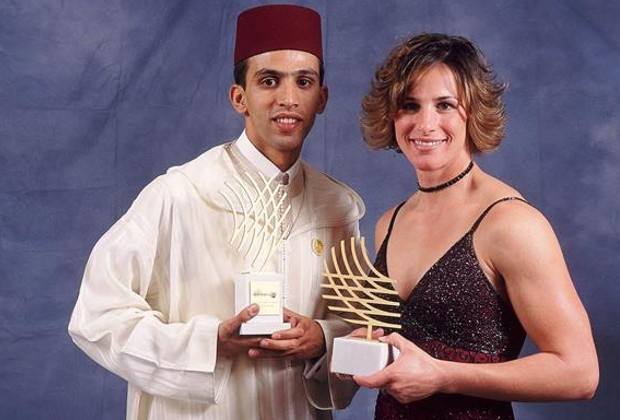 Hicham El Guerrouj and Stacy Dragila with 2001 World Athletes of the Year Awards