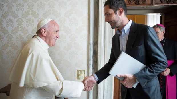 Kevin Systrom with Pope Francis