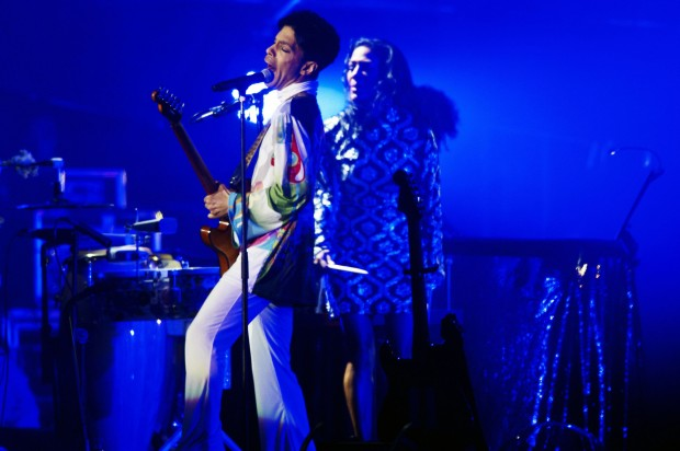 Prince during concert