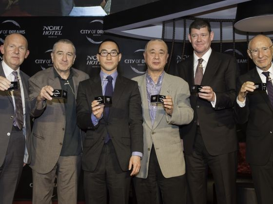 Trevor Horwell, Robert De Niro, Lawrence Ho, Chef Nobu, James Packer, Meir Teper Toast To Their New Venture