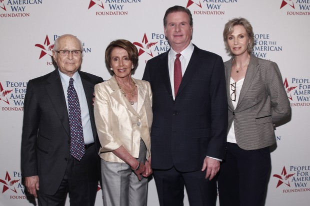 Norman Lear, Democratic Leader Nancy Pelosi, PFAW Foundation President Michael Keegan and board member Jane Lynch