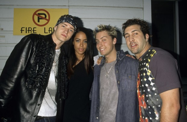 Aaliyah with Justin Timberlake and the rest of the N Sync group